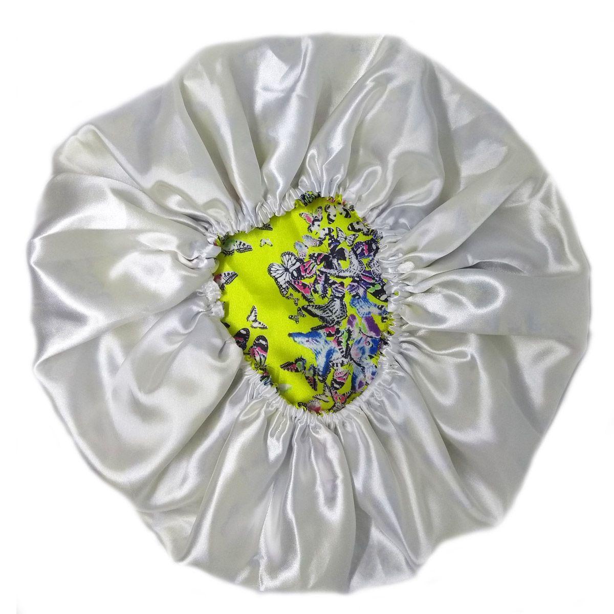 Touca de Cetim Dupla Face Amarela com borboletas