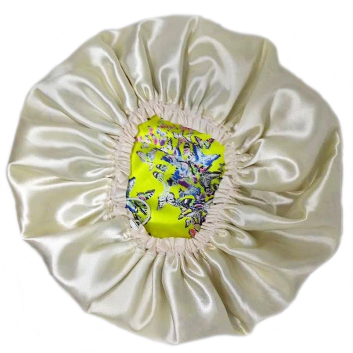 Touca de Cetim Dupla Face Amarela com Borboletas - Ajustável