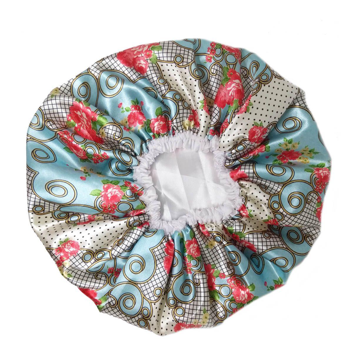 Touca de Cetim Dupla Face Azul claro com rosas - Viés