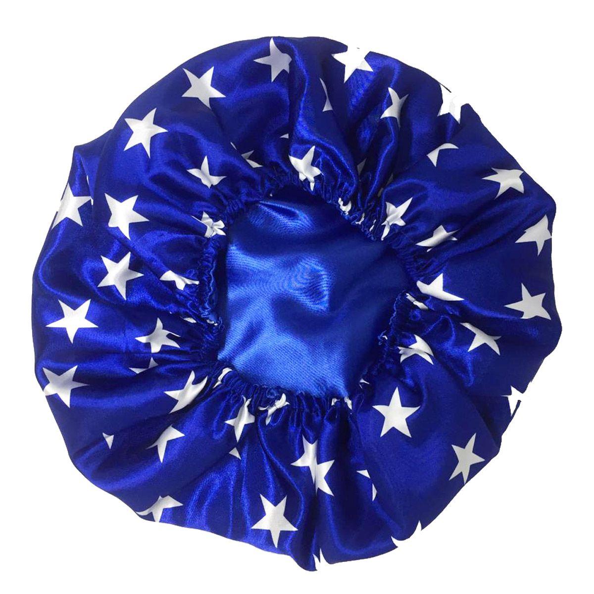 Touca de Cetim Dupla Face Azul de Estrelas