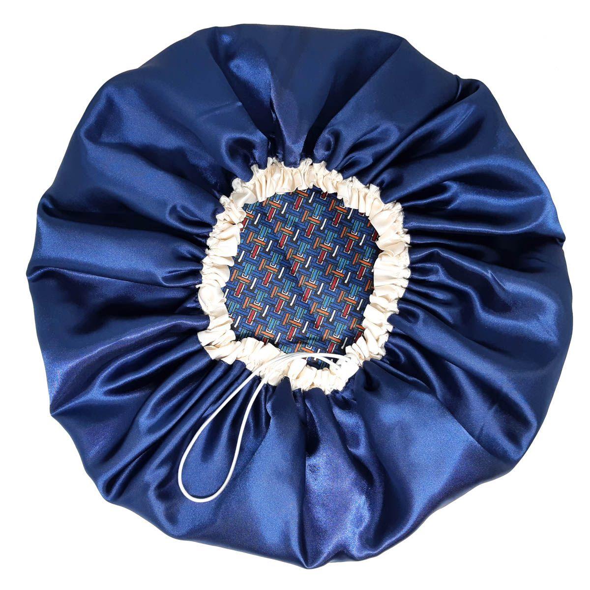 Touca de Cetim - Dupla Face - Azul Geometrica - Ajustável