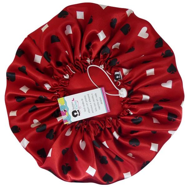 Touca de Cetim - Dupla Face - Copas Vermelha - Ajustável