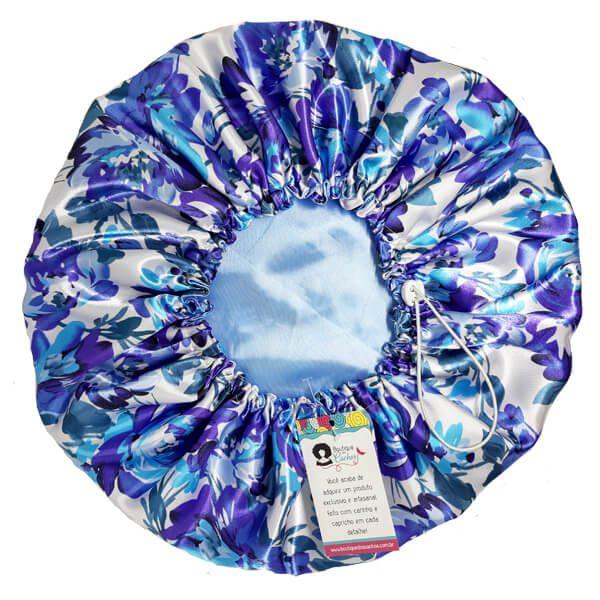 Touca de Cetim Dupla Face - Floral Azul I - Ajustável