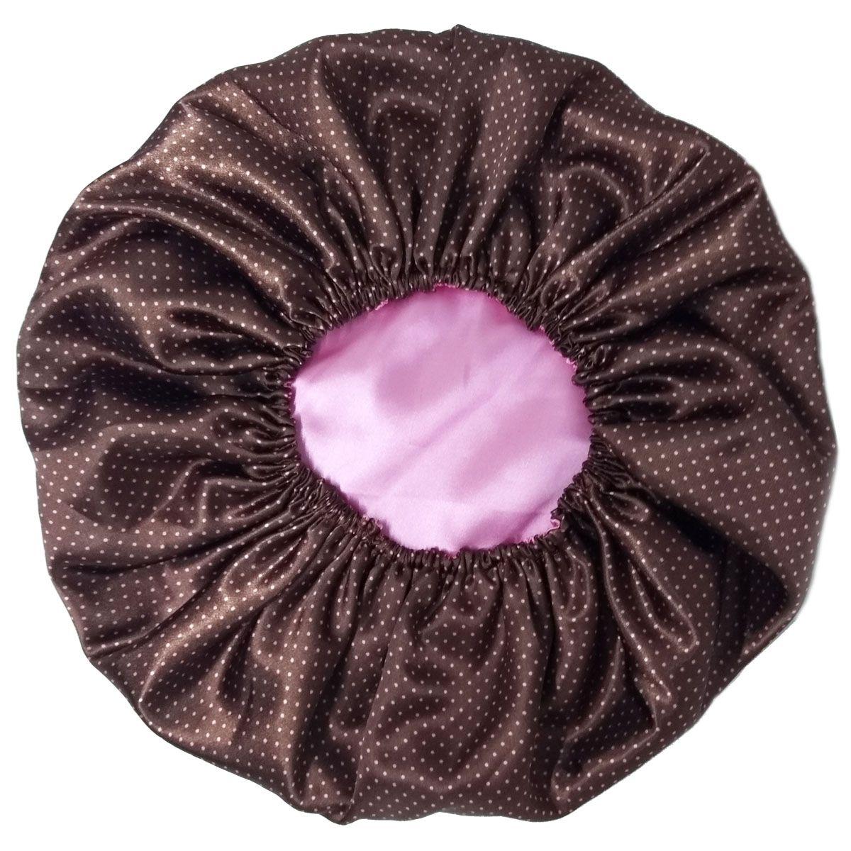 Touca de Cetim Dupla Face Marrom com bolinhas rosas