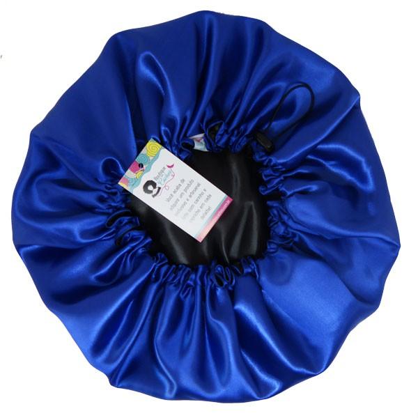 Touca de Cetim - Dupla Face - Preta com Azul - Ajustável
