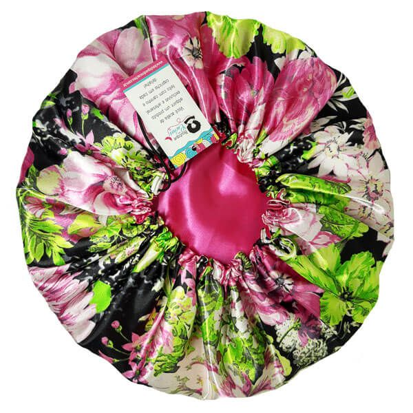 Touca de Cetim Dupla Face - Rosa Floral  - Ajustável