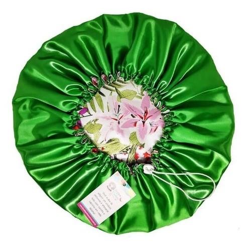 Touca de Cetim Dupla Face - Verde Floral II  - Ajustável