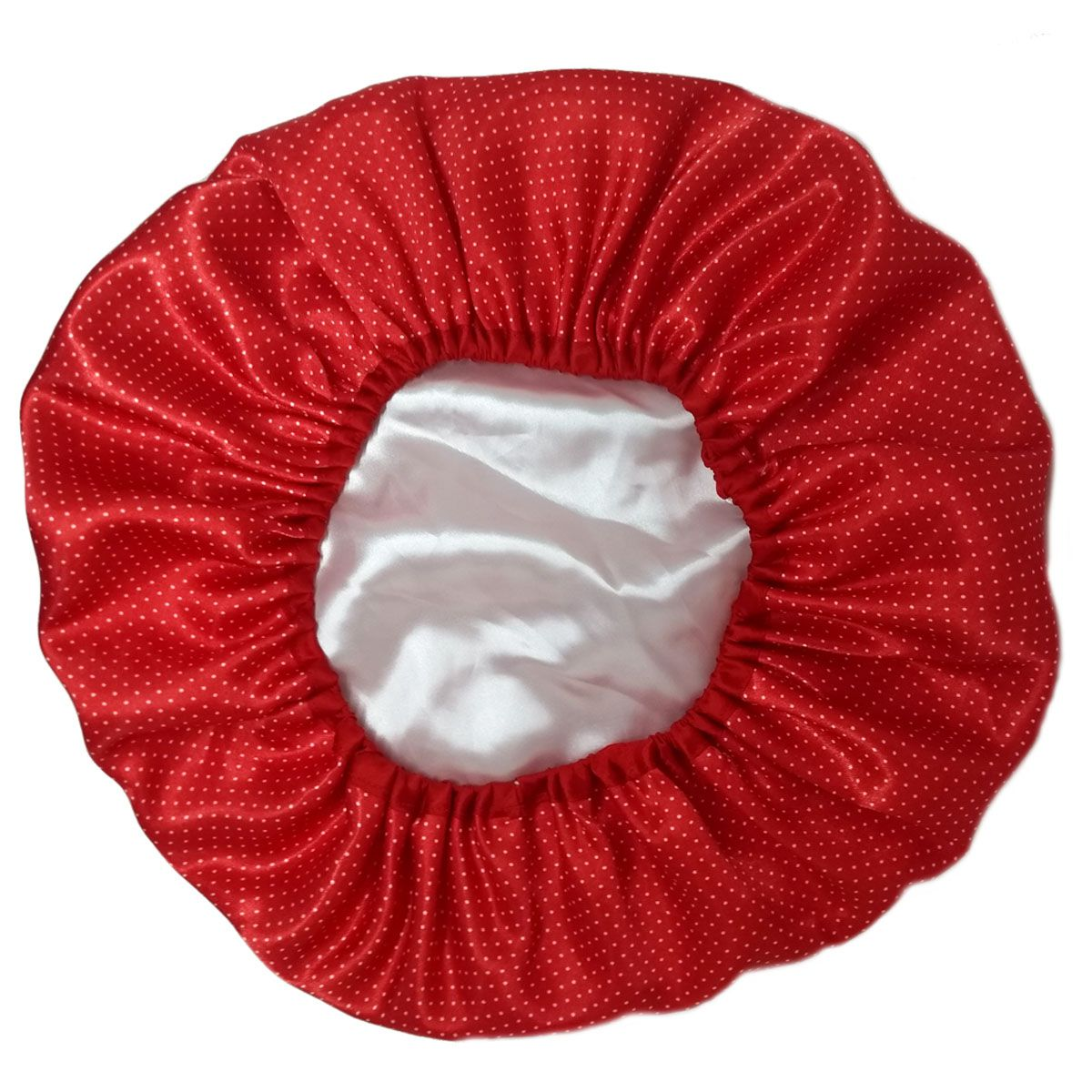Touca de Cetim Dupla Face Vermelha com bolinhas brancas - Viés