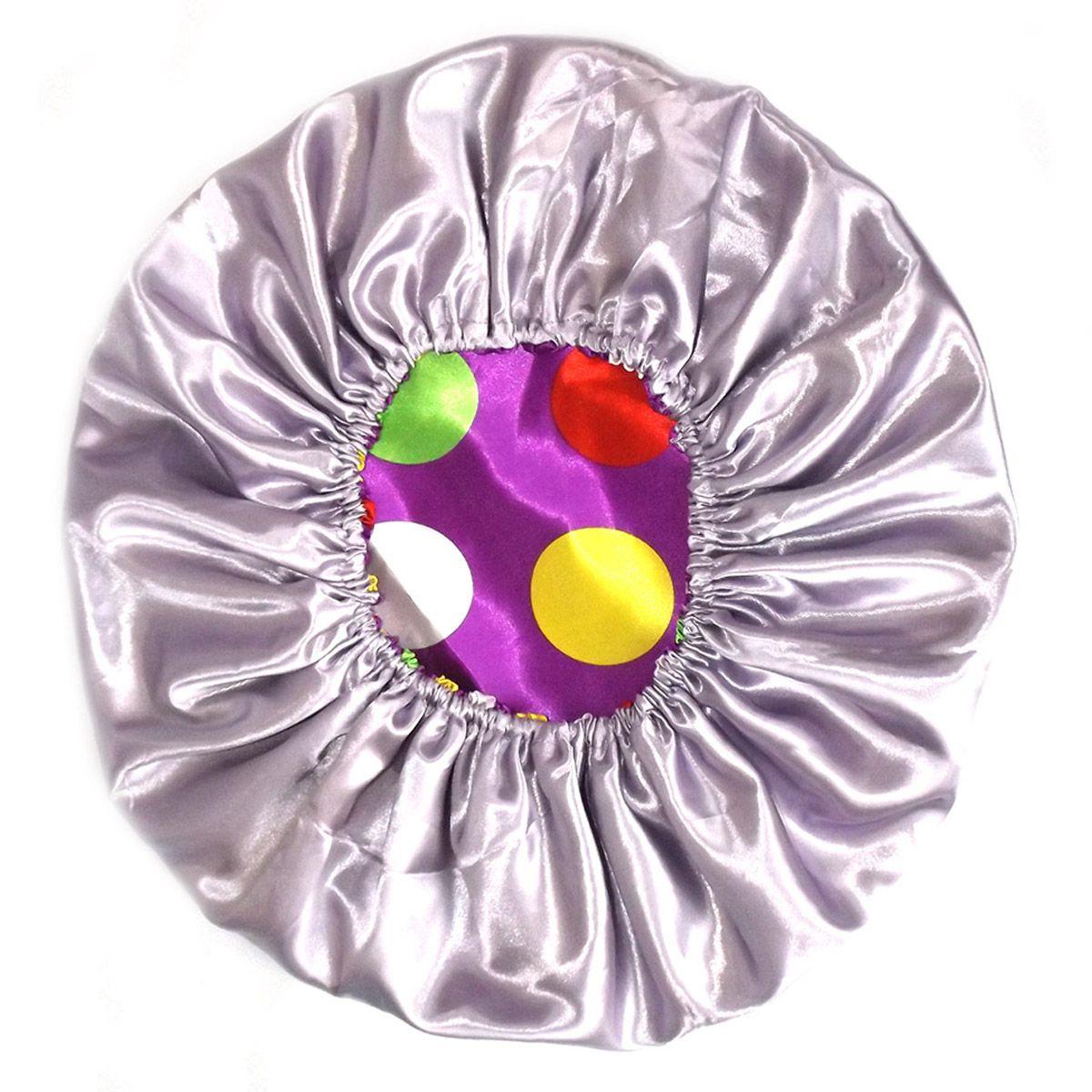 Touca de Cetim Dupla Face Violeta Poá