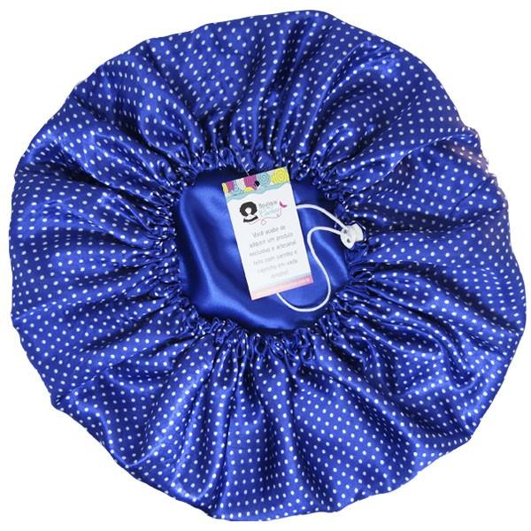 Touca de Cetim - Dupla - Poá Azul Royal - Ajustável