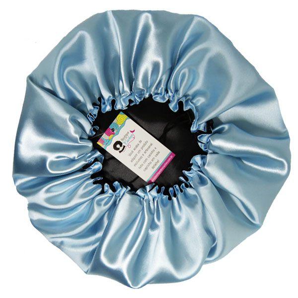 Touca de Cetim - Dupla - Preta com Azul Claro - Ajustável
