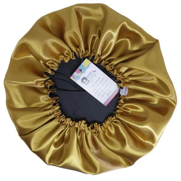 Touca de Cetim - Dupla - Preta com Dourado - Ajustável