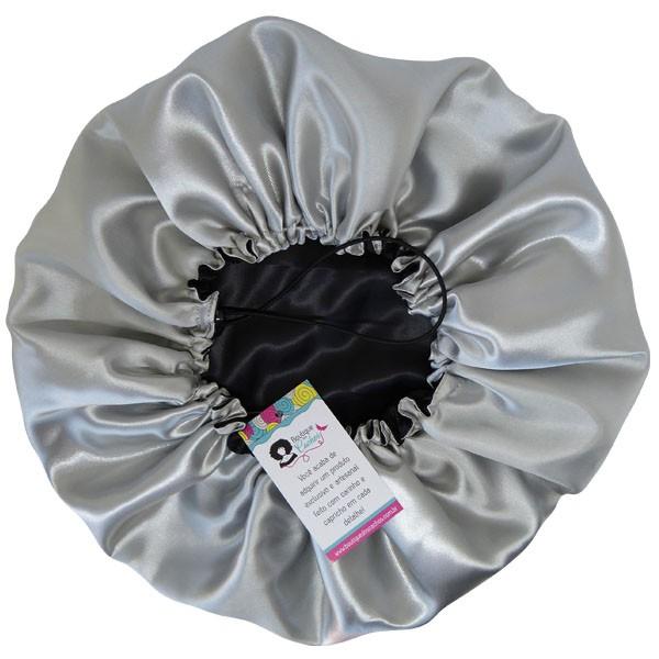 Touca de Cetim - Dupla - Preta com Prata  - Ajustável