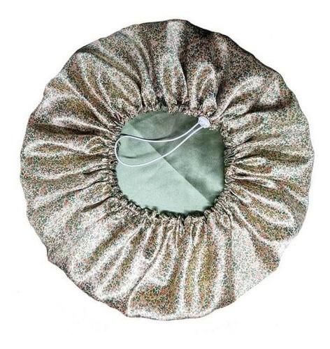 Touca de Cetim - Dupla - Verde Floral - Ajustável
