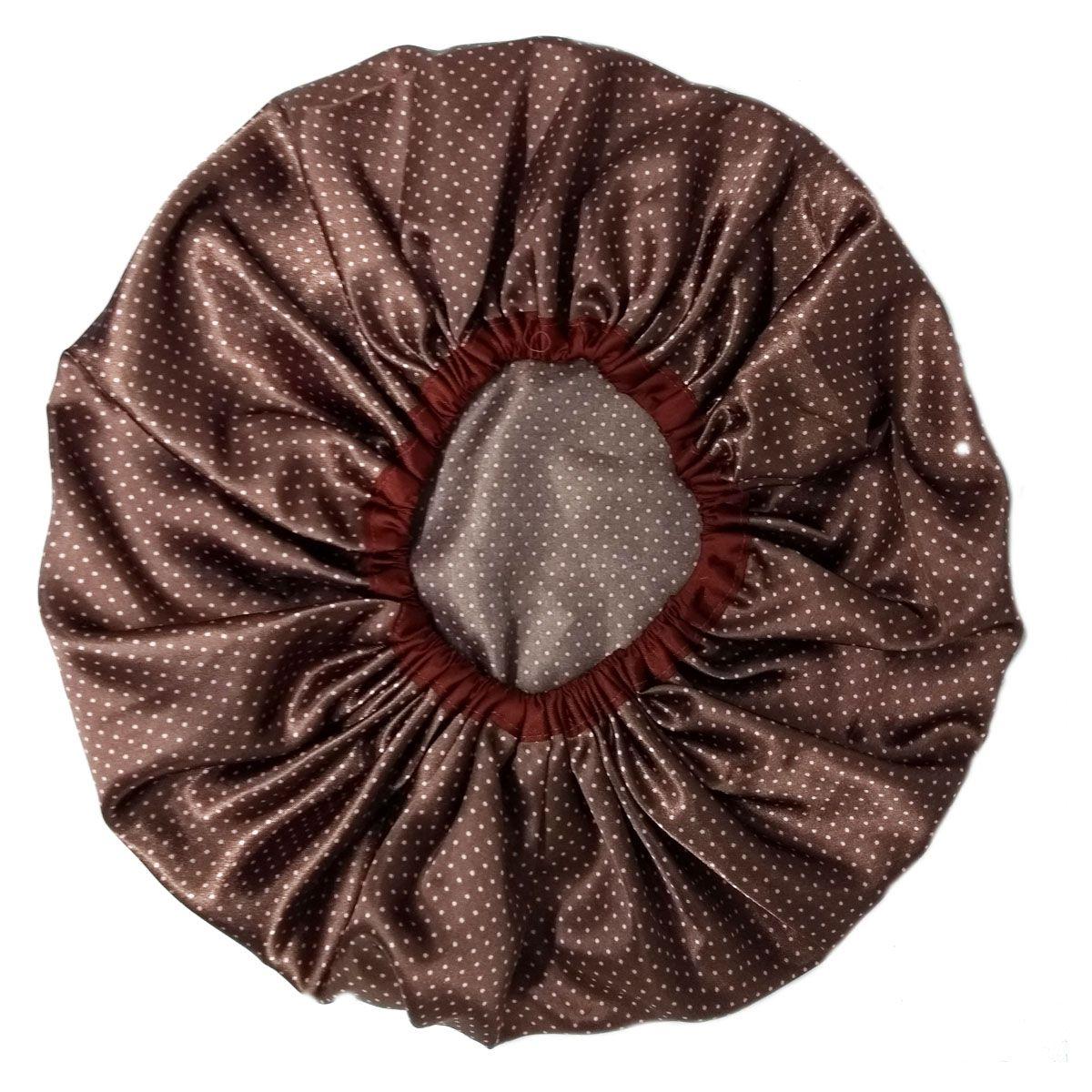 Touca de Cetim Marrom com bolinhas Rosa - Viés