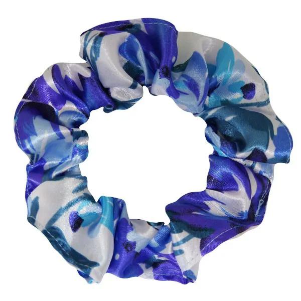 Xuxinha de Cetim - Floral Azul I - Anti Frizz