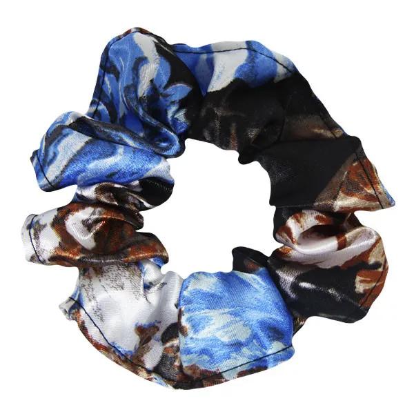 Xuxinha de Cetim - Floral Azul II - Anti Frizz