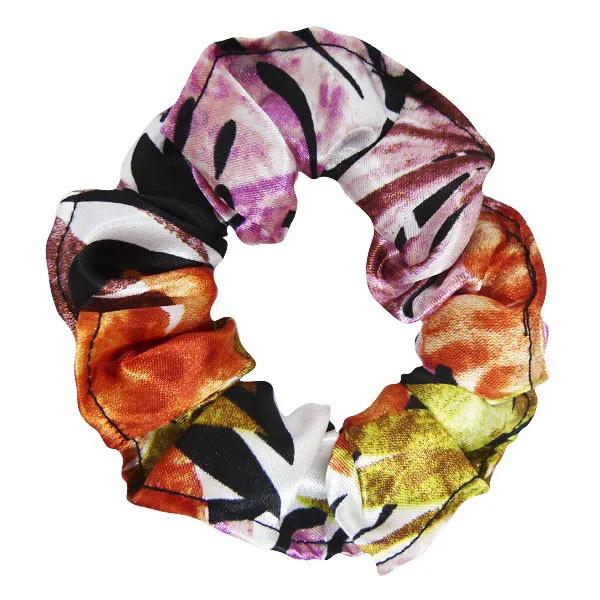 Xuxinha de Cetim - Floral Ferrugem - Anti Frizz