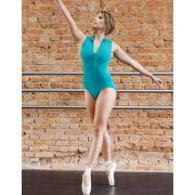 Collant de Ballet Regata Adulto Gola Alta e Zipper Capezio Ref CAP202