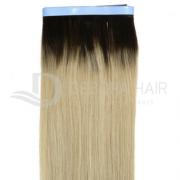 Mega Hair Fita Adesiva 55 cm Loiro Claro Russo Liso com Raiz Esfumada