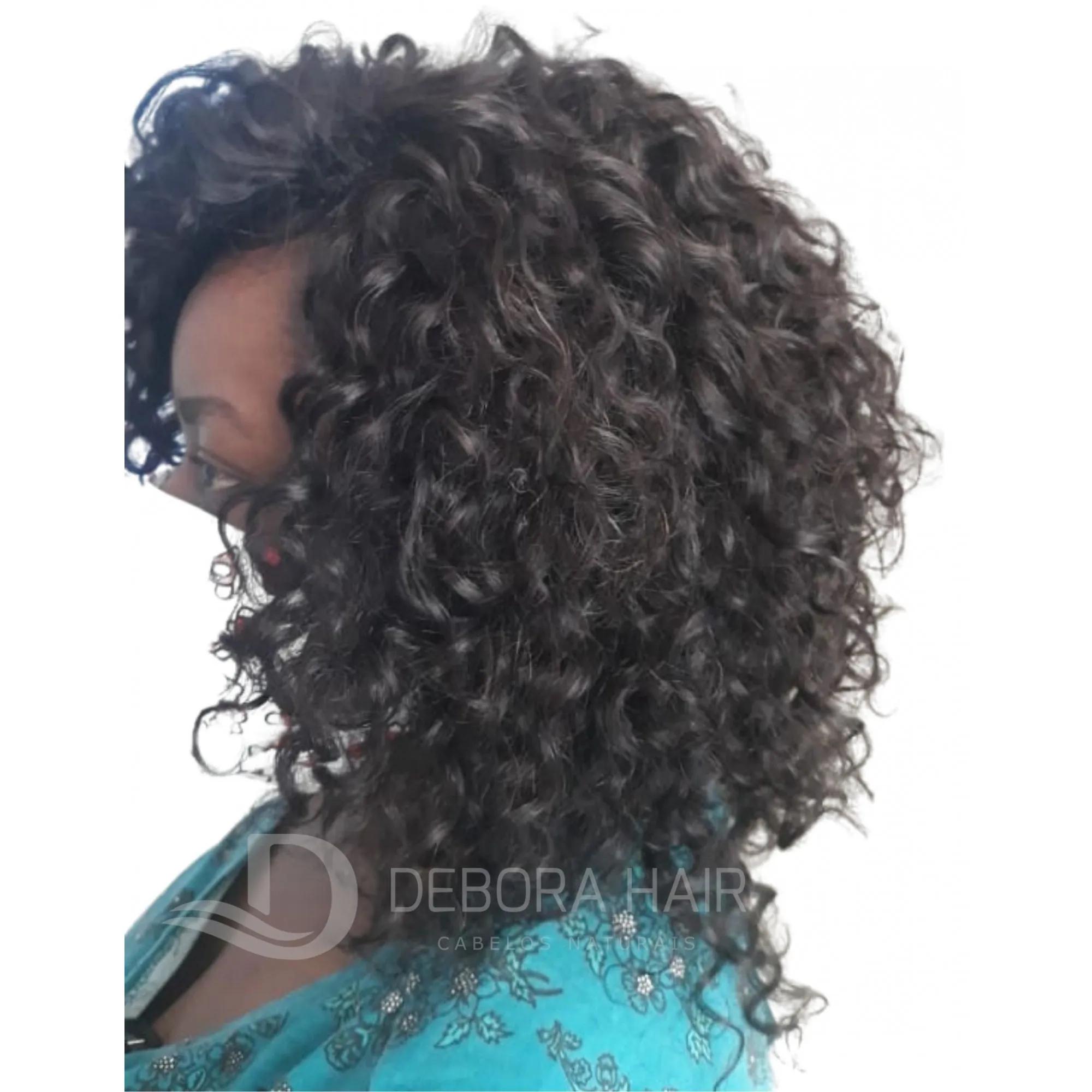 Cabelo Cacheado com Permanente Castanho Cacho Largo de 30 cm  - DEBORA HAIR