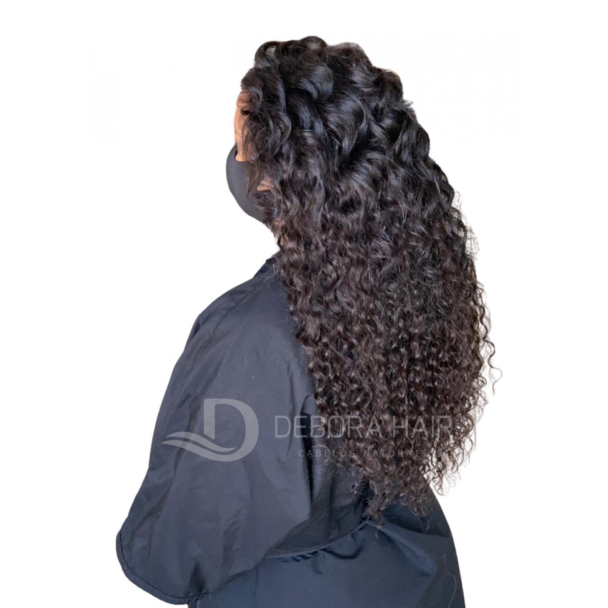 Cabelo Cacheado com Permanente Castanho Cacho Largo de 55 cm  - DEBORA HAIR
