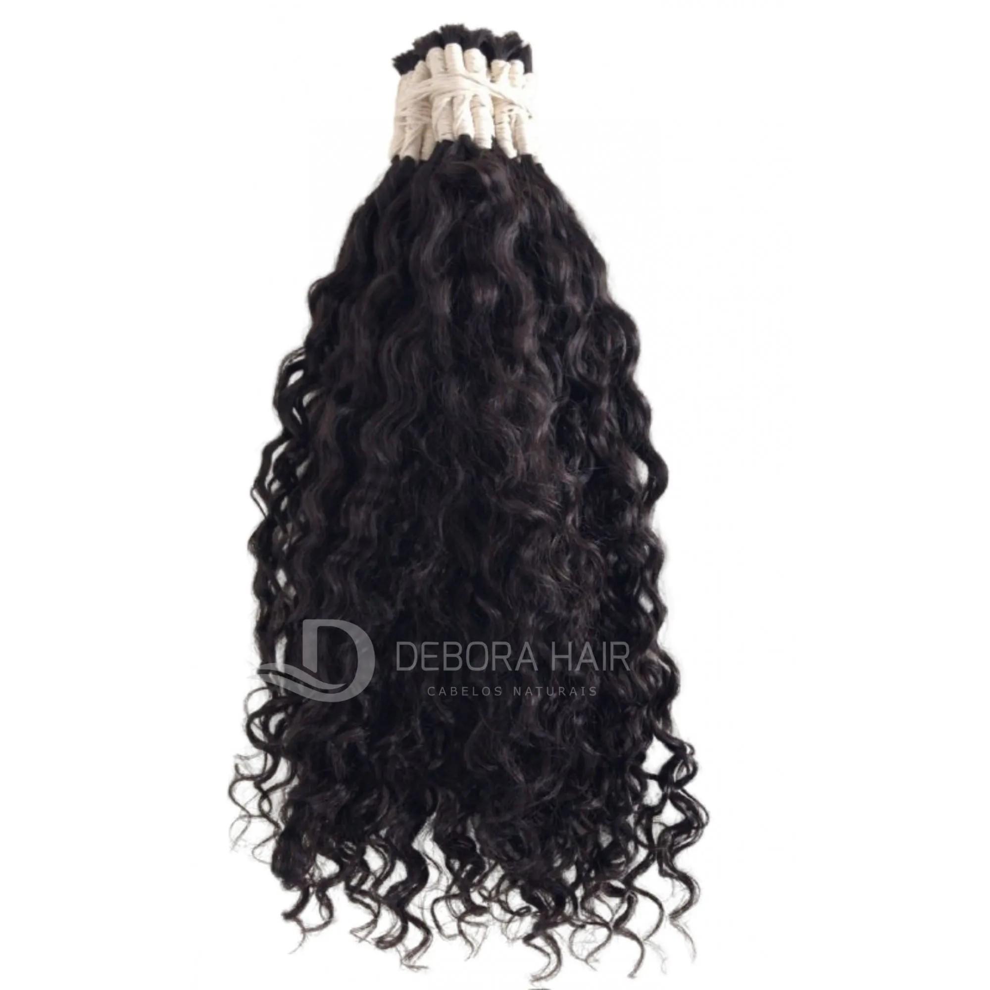 Cabelo Cacheado com Permanente Castanho Cacho Largo de 75 cm  - DEBORA HAIR