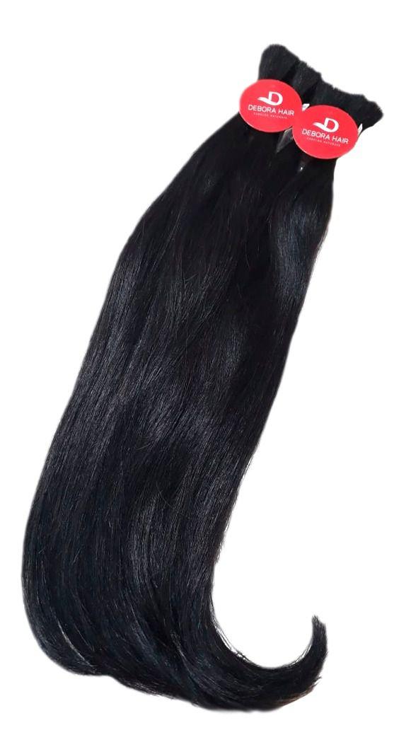 Cabelo Natural de Média Ondulação Castanho de 60 cm