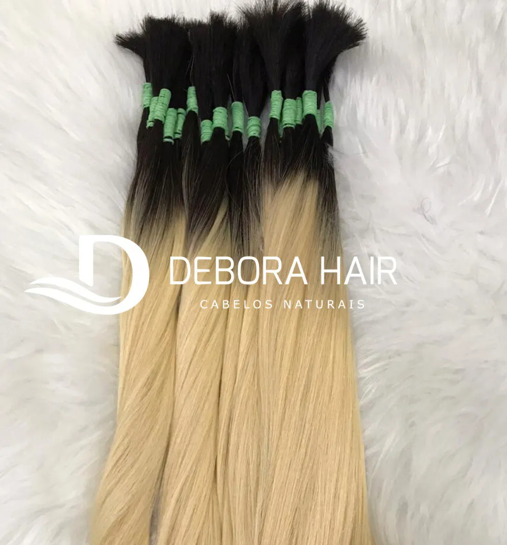 Cabelo Natural Liso Loiro Clarissimo Russo de 50 cm com Raiz Esfumada  - DEBORA HAIR