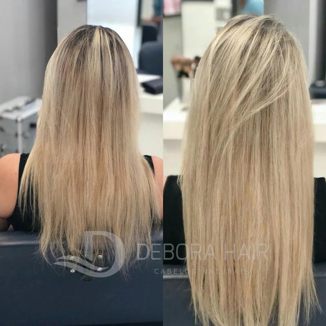Cabelo Natural Liso Loiro Clarissimo Russo de 60 cm  - DEBORA HAIR