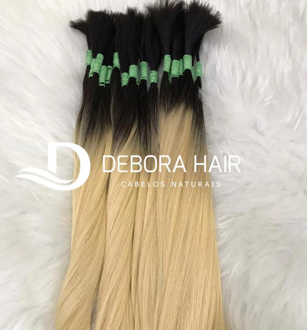 Cabelo Natural Liso Loiro Clarissimo Russo de 70 cm com Raiz Esfumada  - DEBORA HAIR