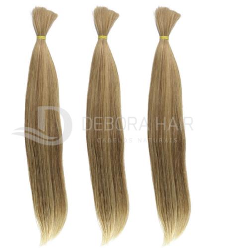 Cabelo Natural Liso Loiro Mesclado (7119A) de 50 cm + kit  - DEBORA HAIR