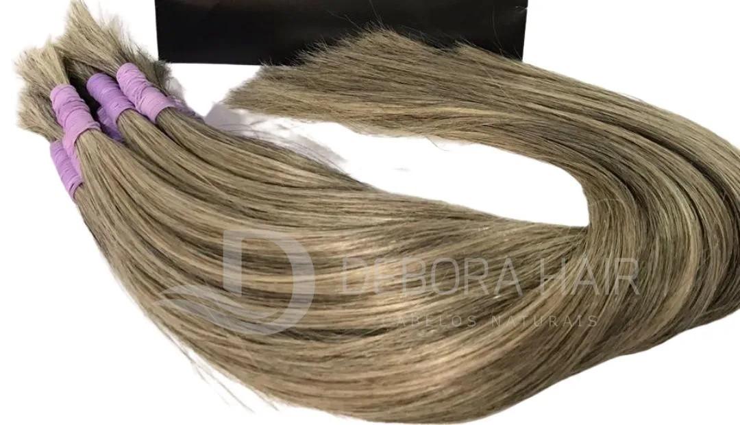 Cabelo Natural Liso Loiro Mesclado Cinza de 50 cm  - DEBORA HAIR