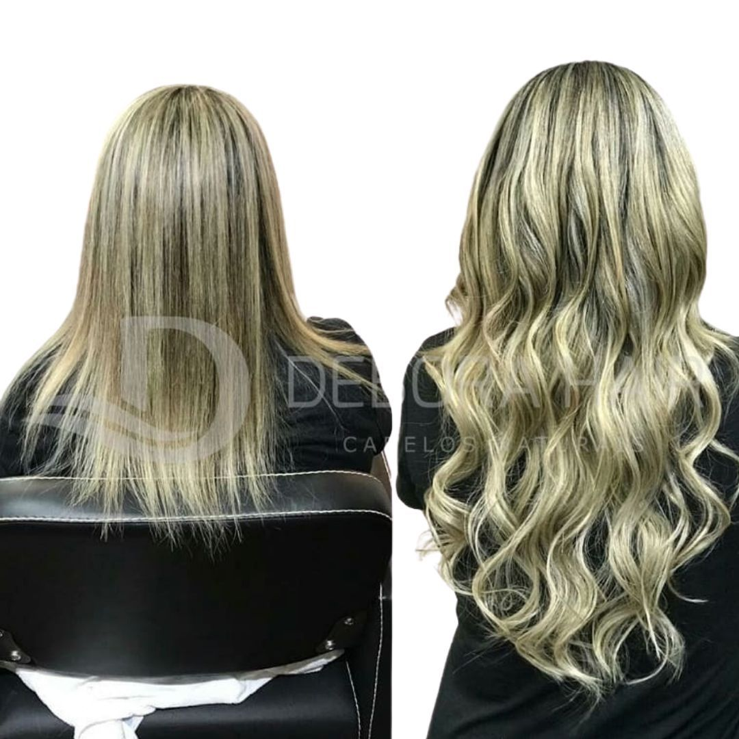 Cabelo Natural Liso Loiro Mesclado Cinza de 60 cm  - DEBORA HAIR