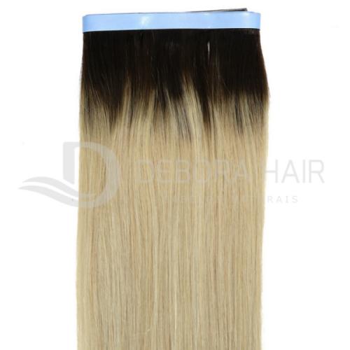 Mega Hair Fita Adesiva 65 cm Loiro Claro Russo Liso com Raiz Esfumada