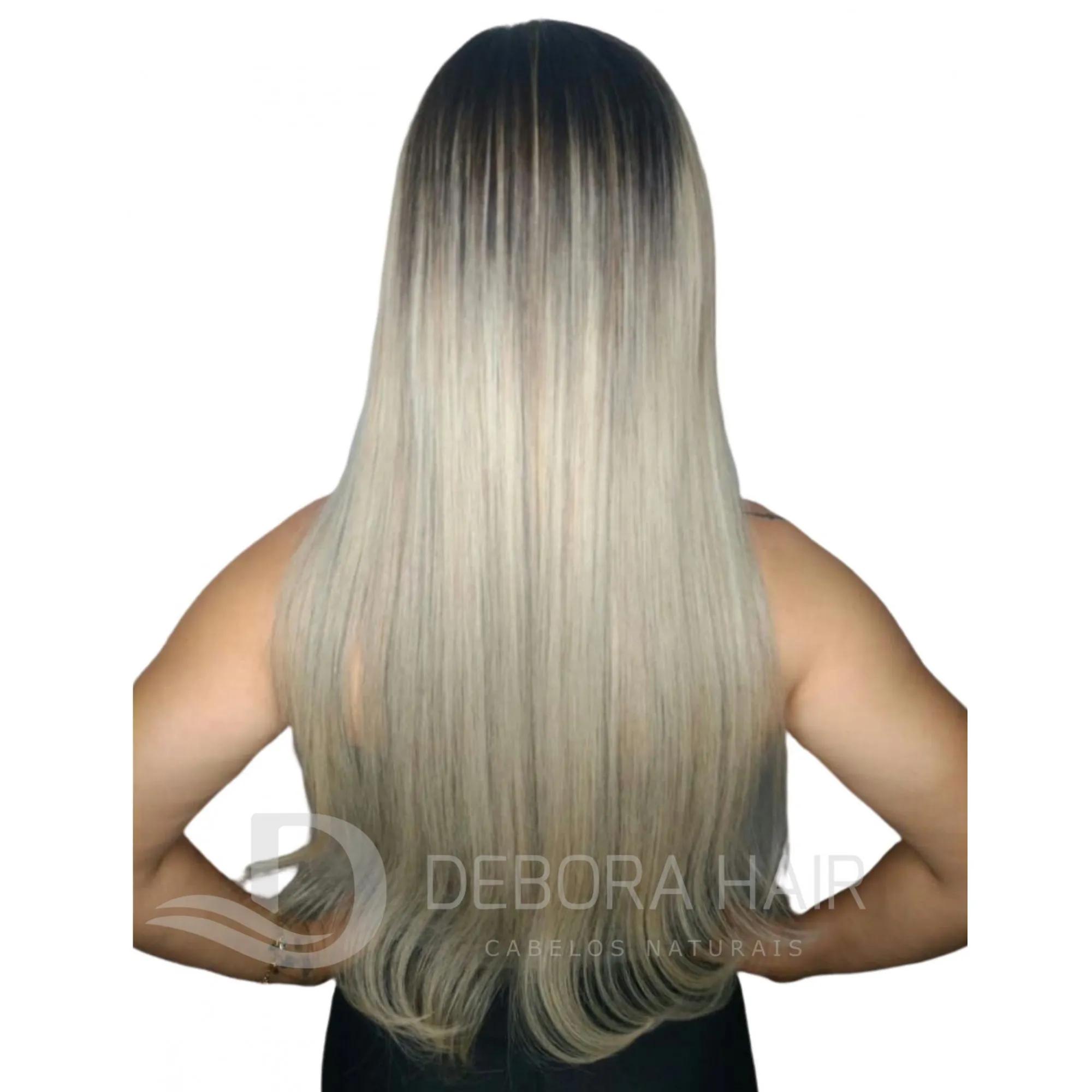 Mega Hair Fita Adesiva 75 cm Loiro Claro Russo Liso com Raiz Esfumada
