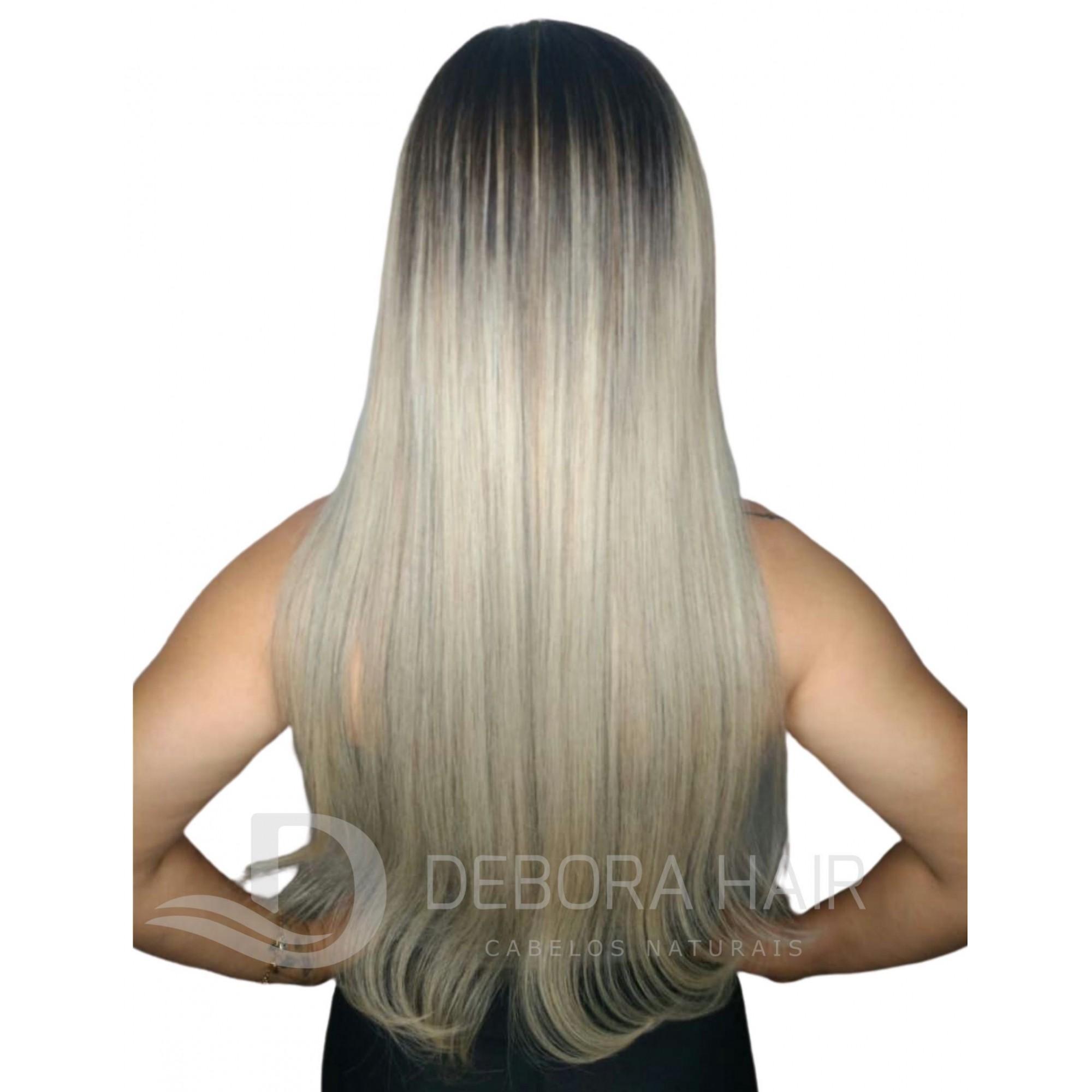 Mega Hair Fita Adesiva 70 cm Loiro Claro Russo Liso com Raiz Esfumada  - DEBORA HAIR