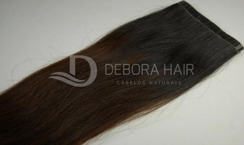 Mega Hair Fita Adesiva Castanho c/ Ombre 60 cm  - DEBORA HAIR