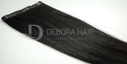 Mega Hair Fita Adesiva Castanho Liso Premium de 40 cm