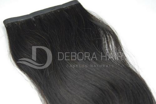 Mega Hair Fita Adesiva Leve Ondulado Castanho 50 cm  - DEBORA HAIR