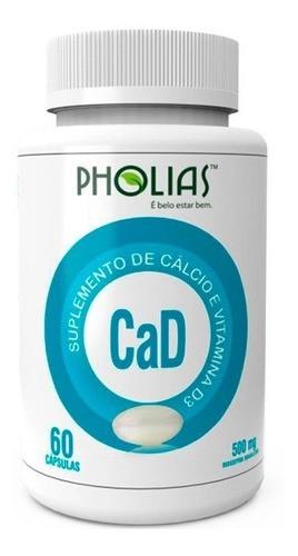 CaD - CÁLCIO C/ VITAMINA D3 60 CÁPSULAS - PHOLIAS