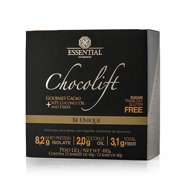 CHOCOLIFT BE UNIQUE BOX (12 BARRAS DE 40G CADA) - ESSENTIAL NUTRITION
