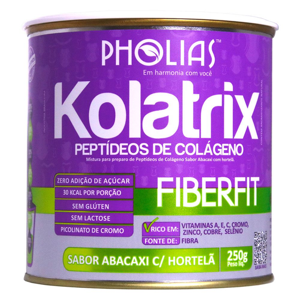 KOLATRIX FIBERFIT (PEPTÍDEOS DE COLÁGENO) ABACAXI E HORTELÃ 250G - PHOLIAS