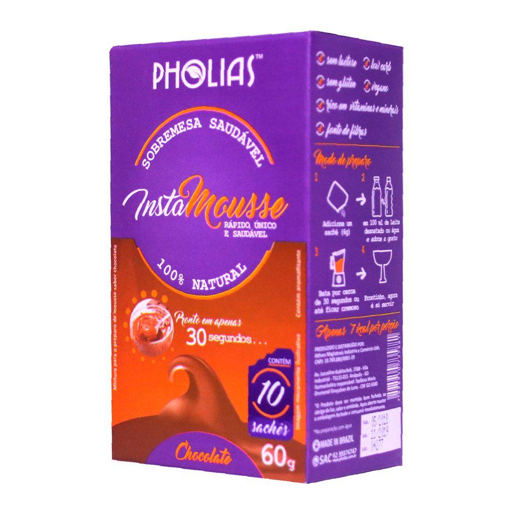 MOUSSE INSTANTÂNEO INSTAMOUSSE SABOR CHOCOLATE 10 SACHÊS - PHOLIAS