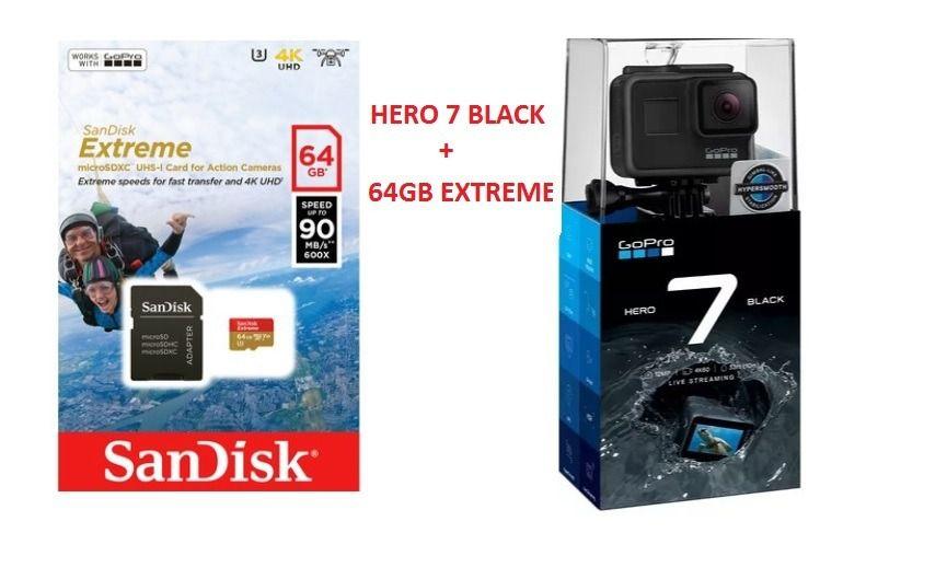Gopro Hero 7 Black + 64gb Extreme Original + Garantia 1 Ano