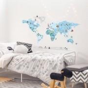 Adesivo Mapa Mundi Ben - Azul