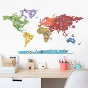 Adesivo Mapa Mundi Ben - Colorido