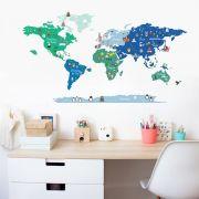 Adesivo Mapa Mundi Ben - Verde e Azul