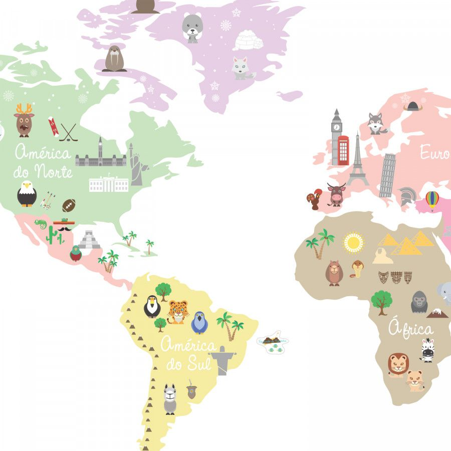 Adesivo Mapa Mundi Ben - Candy Colors