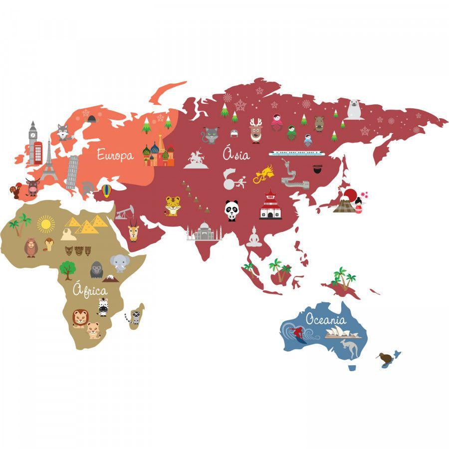 Adesivo Mapa Mundi Ben - Colorido  - Ideias de Mamãe